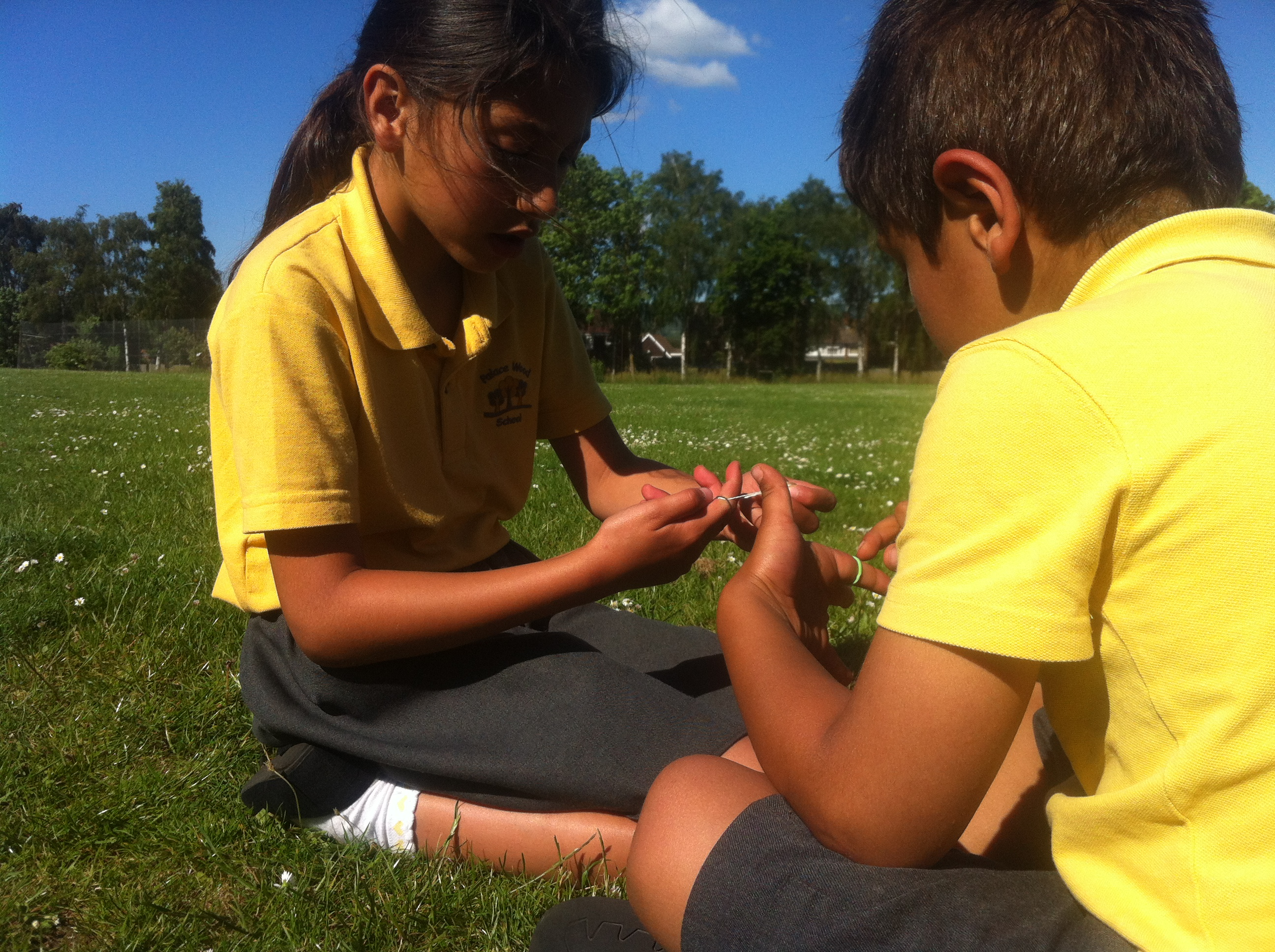 Making daisy chains at the park after school